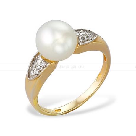 Кольцо из желтого золота с белой жемчужиной 7,5-8 мм. Артикул 12027