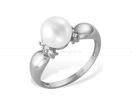Кольцо из белого золота с белой жемчужиной 7-7,5 мм. Артикул 12028