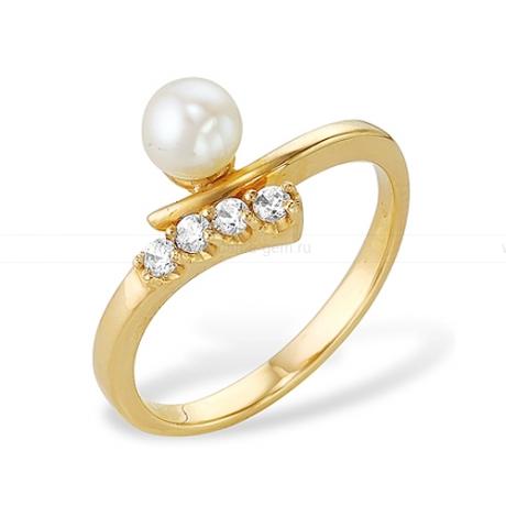 Кольцо из желтого золота с белой жемчужиной 7,5-8 мм. Артикул 12029