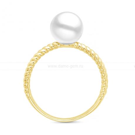 Кольцо из золота с белой морской жемчужиной Акойя 7-7,5 мм. Артикул 12033