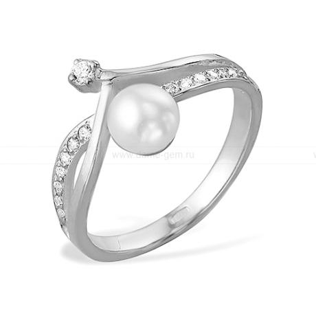 Кольцо из белого золота с белой жемчужиной 7-7,5 мм. Артикул 12034