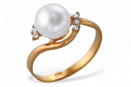 Кольцо из красного золота с белой жемчужиной 8-8,5 мм. Артикул 12035