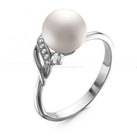 Кольцо из белого золота с белой жемчужиной 8,5-9 мм. Артикул 12036