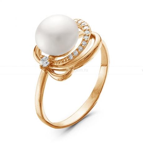 Кольцо из красного золота с белой жемчужиной 8,5-9 мм. Артикул 12037