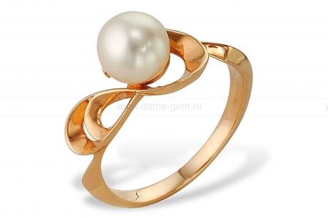 Кольцо из красного золота с белой жемчужиной 8-8,5 мм. Артикул 12040