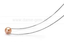 Цепочка из серебра с розовой речной жемчужиной 8,5-9,5 мм. Артикул 12048