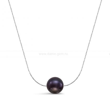 Цепочка из серебра с черной речной жемчужиной 9-9,5 мм. Артикул 12050