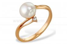 Кольцо из красного золота с белой жемчужиной 8,5-9 мм. Артикул 12055