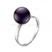 Кольцо из серебра с черной жемчужиной. Артикул 12062
