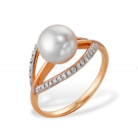 Кольцо из красного золота с белой жемчужиной 8,5-9 мм. Артикул 12065