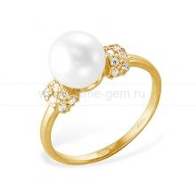 Кольцо из желтого золота с белой жемчужиной. Артикул 12070