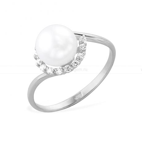 Кольцо из белого золота с белой жемчужиной 8-8,5 мм. Артикул 12071