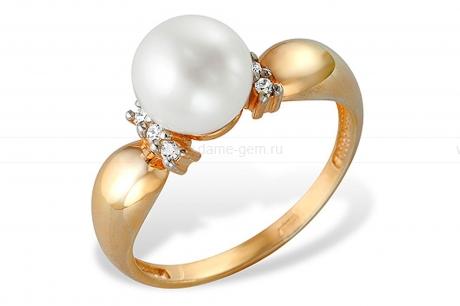 Кольцо из серебра с белой жемчужиной 6,5-7,5 мм. Артикул 12072
