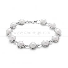 Браслет из серебра с белыми жемчужинами. Артикул 12081