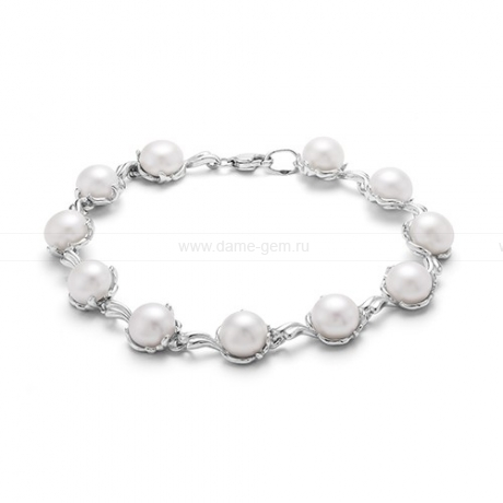 Браслет из серебра с белыми речными жемчужинами 8-8,5 мм. Артикул 12081