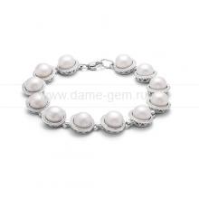 Браслет из серебра с белыми жемчужинами. Артикул 12083