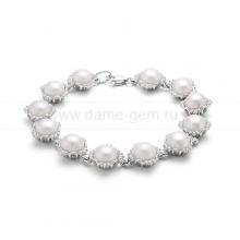 Браслет из серебра с белыми жемчужинами. Артикул 12084