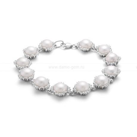 Браслет из серебра с белыми речными жемчужинами 8-8,5 мм. Артикул 12084