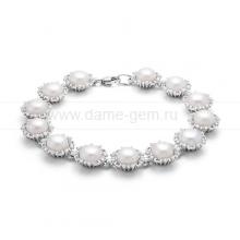 Браслет из серебра с белыми жемчужинами. Артикул 12085