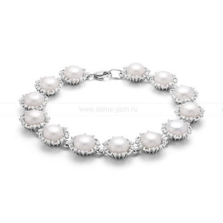 Браслет из серебра с белыми речными жемчужинами 8-8,5 мм. Артикул 12085