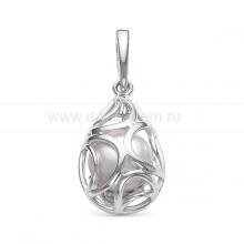 Кулон из серебра с белой речной жемчужиной. Артикул 12086