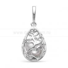 Кулон из серебра с белой речной жемчужиной. Артикул 12087