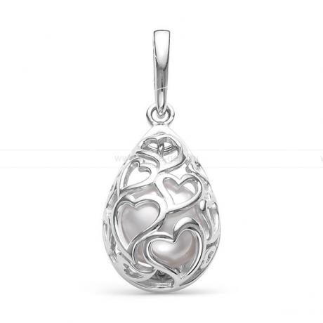 Кулон из серебра с белой жемчужиной 8-8,5 мм. Артикул 12087