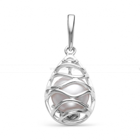 Кулон из серебра с белой речной жемчужиной 8-8,5 мм. Артикул 12088