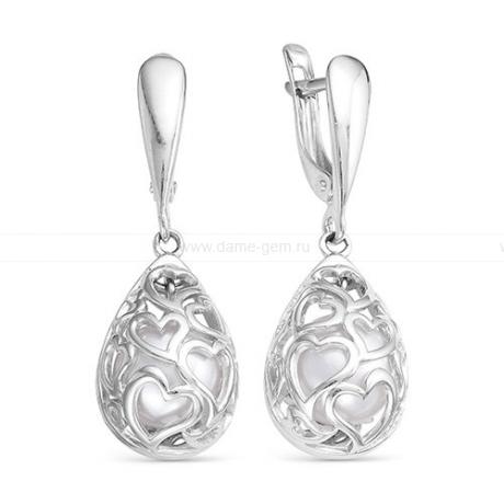 Серьги из серебра с белыми жемчужинами. Артикул 12089