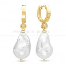 Серьги из серебра с белыми жемчужинами. Артикул 12103