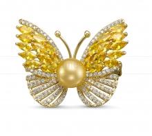 """Брошь-кулон """"Бабочка"""" с Австралийской морской жемчужиной. Артикул 12107"""