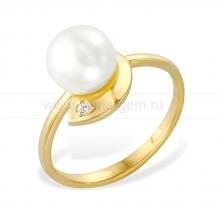 Кольцо из желтого золота с белой жемчужиной 6-6,5 мм. Артикул 12120
