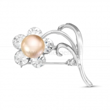 """Брошь """"Цветок"""" с розовой речной жемчужиной. Артикул 12152"""