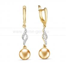 Серьги из золота с морскими золотистыми жемчужинами. Артикул 12169