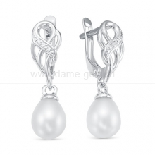 Серьги из серебра с белыми жемчужинами 7,5-8 мм. Артикул 12199