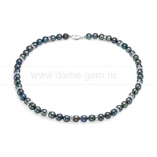 Колье (ожерелье) из черного круглого жемчуга со стразами. Артикул 12210