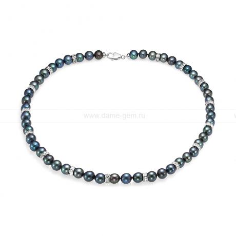 Ожерелье со стразами из черного круглого речного жемчуга 7,5-8 мм. Артикул 12210