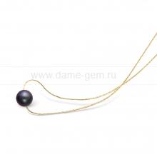 Цепочка из серебра с черной речной жемчужиной 10,8 мм. Артикул 12224