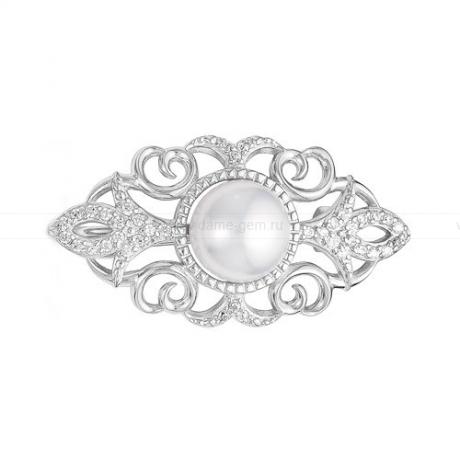 Брошь из серебра с белой речной жемчужиной 8,5-9 мм. Артикул 12230
