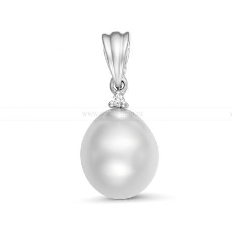 Кулон из серебра с белой Австралийской жемчужиной 9,6-9,9 мм. Артикул 12251