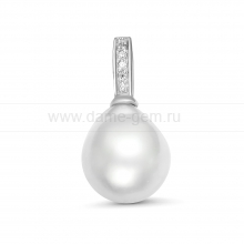 Кулон из серебра с белой Австралийской жемчужиной 10,6-10,9 мм. Артикул 12253