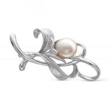 Брошь из серебра с белой Японской речной жемчужиной 14-14,5 мм. Артикул 12271