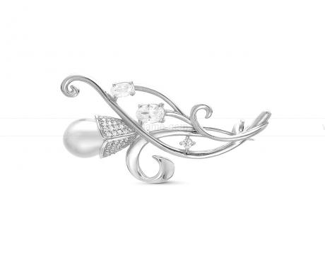 Брошь из серебра с белой речной жемчужиной 7,5-8 мм. Артикул 12272
