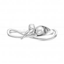 Брошь из серебра с белой речной жемчужиной 11-12 мм. Артикул 12274