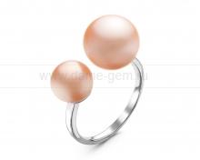 """Двойное кольцо """"Dior"""" с розовыми жемчужинами 7,5-11 мм. Артикул 12279"""