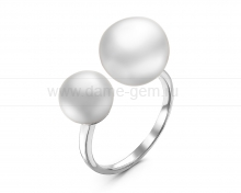 """Двойное кольцо """"Dior"""" с белыми жемчужинами 8,5-11,5 мм. Артикул 12281"""