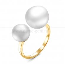 """Двойное кольцо """"Dior"""" с белыми жемчужинами 7,5-11 мм. Артикул 12283"""