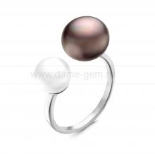 """Двойное кольцо """"Dior"""" с белой и черной жемчужинами 8,5-12 мм. Артикул 12284"""
