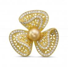 Брошь с золотистой Австралийской жемчужиной. Артикул 12297