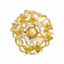 Брошь-кулон с Австралийской золотистой жемчужиной. Артикул 12299